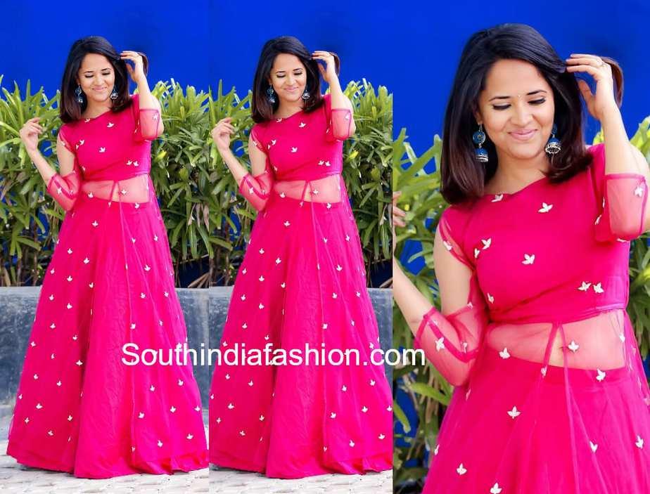 anchor anasuya pink dress rangasthalam dance show