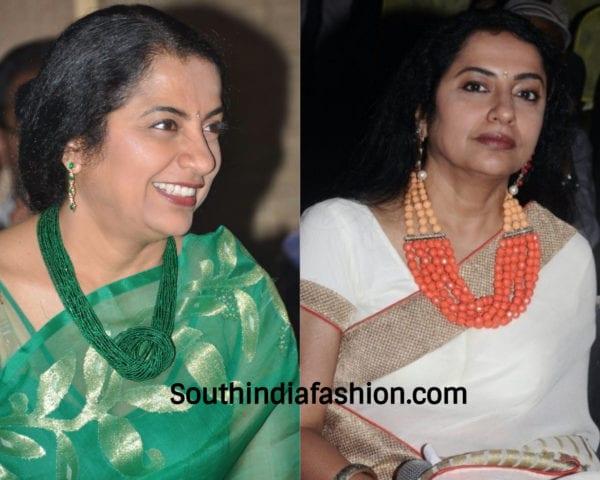suhasini wearing beads necklace