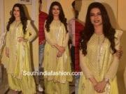 bhagya shree yellow palazzo suit