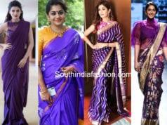 celebrities in purple sarees