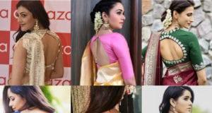 latest celebrity blouse back neck designs