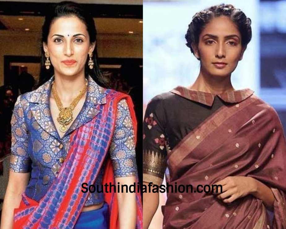 collar neck blouse with saree