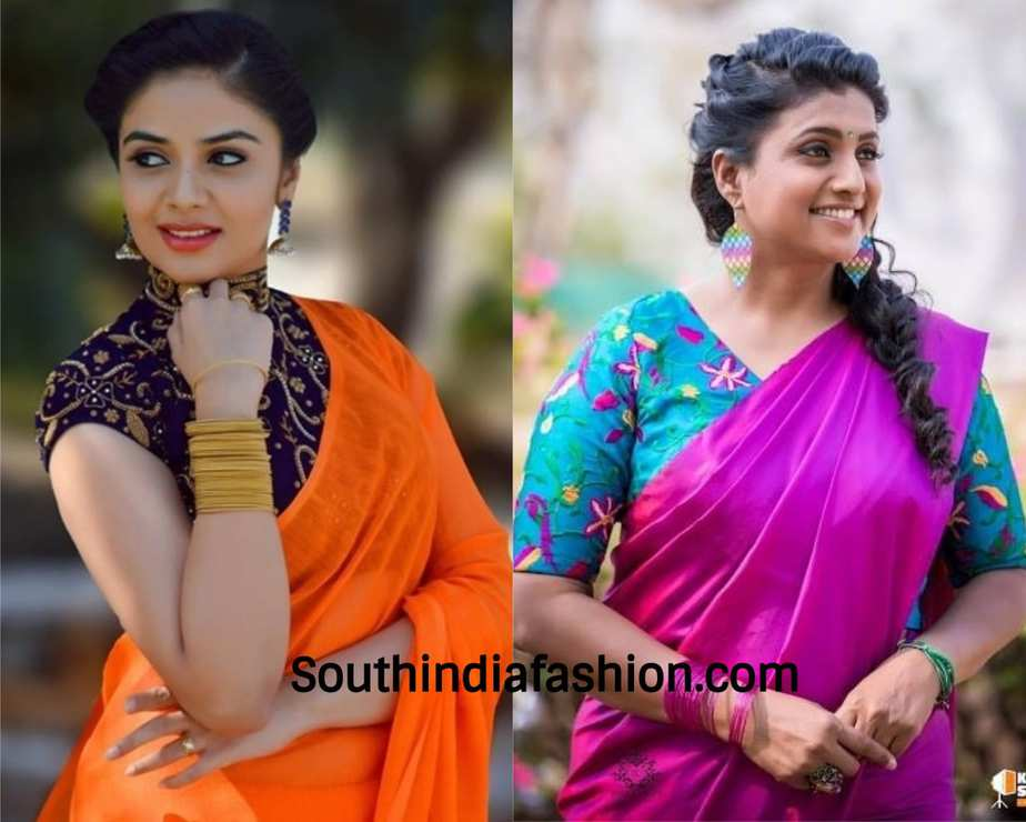 bd9ca7f8c4dc0b Tips to glam up plain sarees for parties | Blouses For Plain Sarees