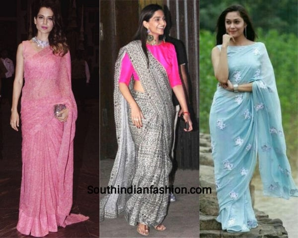 actresses wearing design chiffon saree