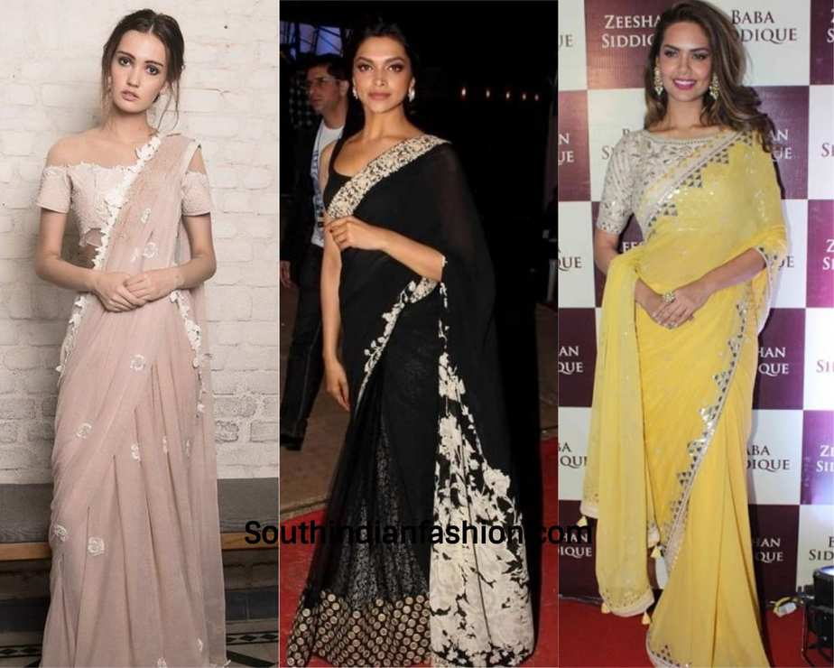 actresses wearing designer chiffon saree