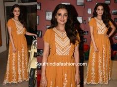 dia mirza in Varq by Varun & Nidhika orange dress sanju promotions