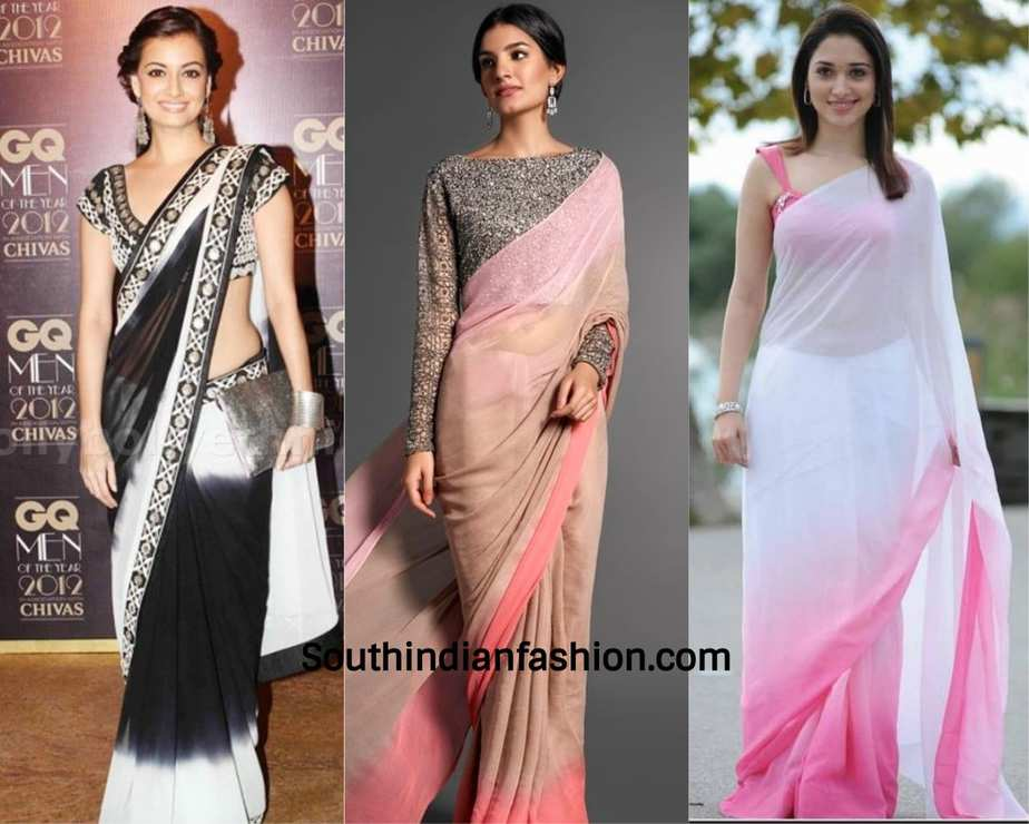 actresses wearing chiffon saree