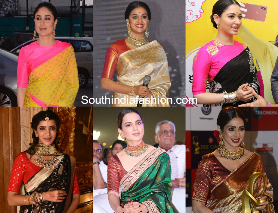 actress sarees with elbow length sleeves blouse designs