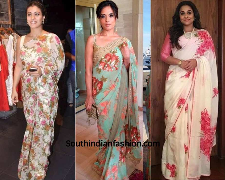 actresses wearing floral chiffon saree