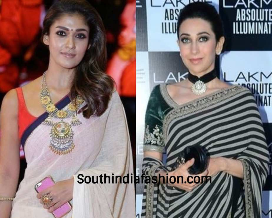actresses wearing funky jewelry with sarees