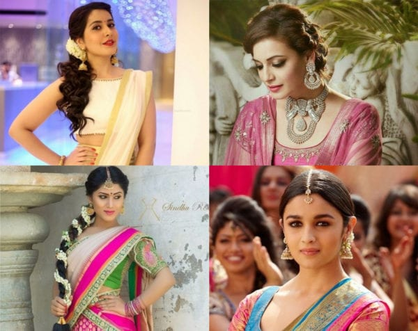 hairstyles for half saree