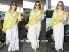 hansika white kurta skirt green dupatta at airport