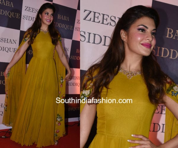 jacqueline fernandez green cape anarkali at baba siddique iftar party