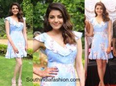 kajal aggarwal floral short dress