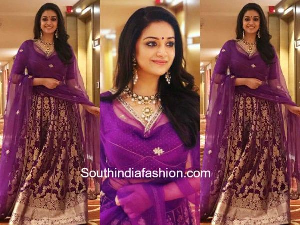 keerthy suresh in purple lehenga by sailesh singhania