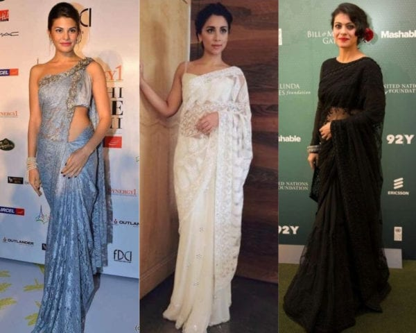 actresses wearing lace saree