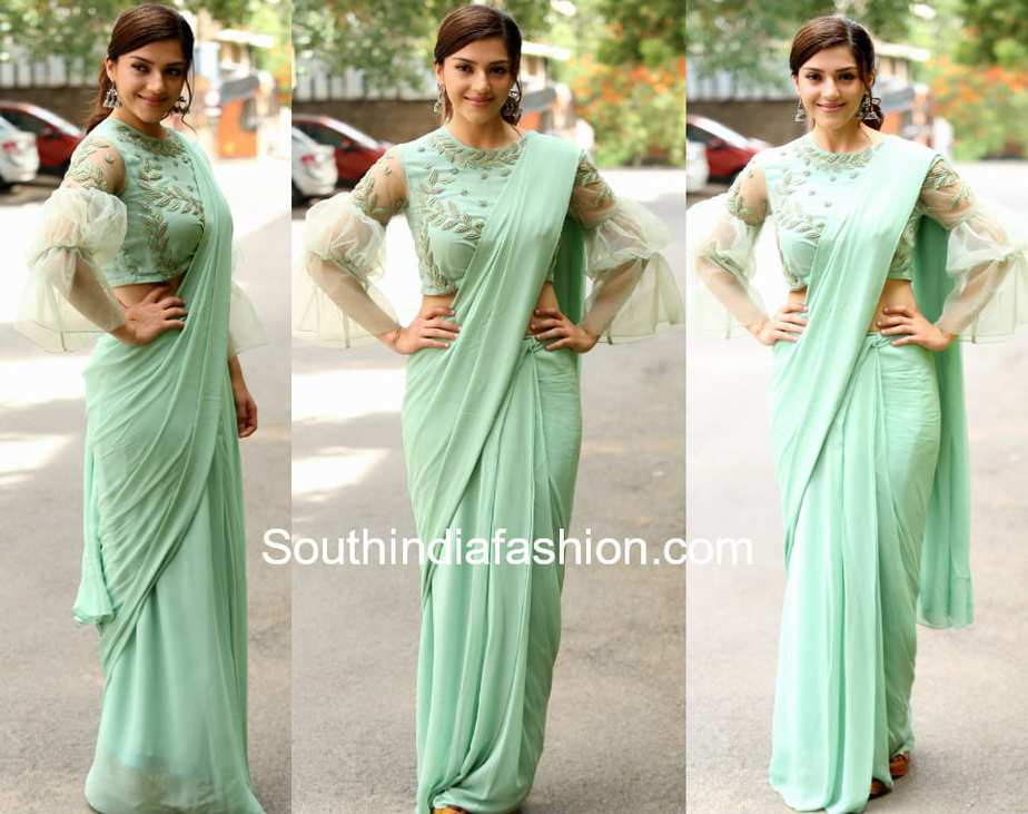 mehreen mint green saree bell sleeves blouse