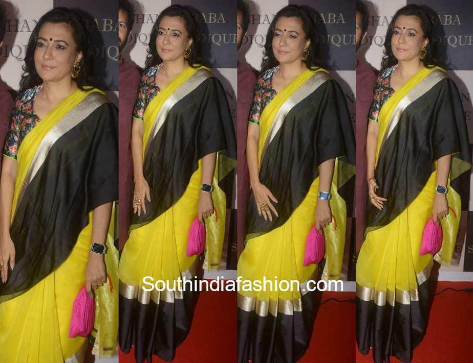 mini mathur yellow saree floral blouse