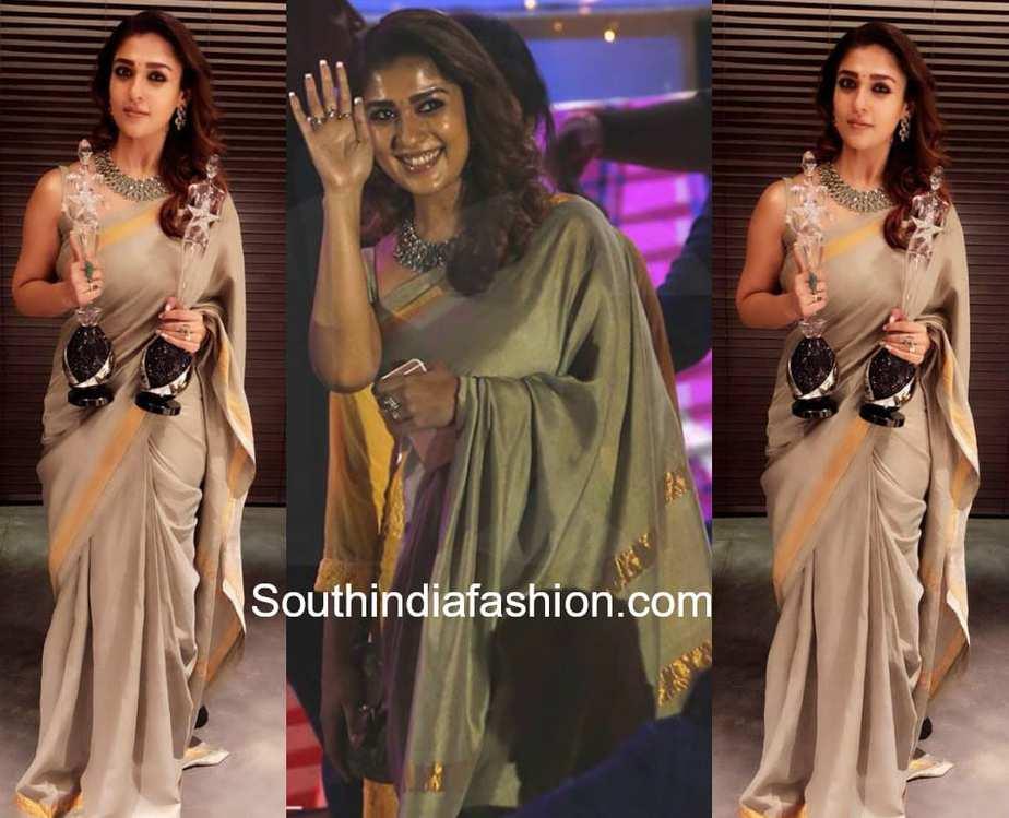 a1f9f5699b670 Nayanthara stuns in a handloom saree at Vijay Awards 2018