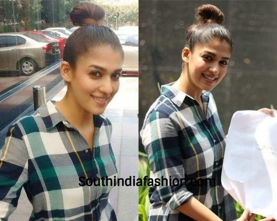 nayanthara top knot bun hairstyle