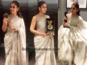 nayanthara linen saree behindwoods gold medal awards