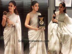 nayanthara linen saree behindwoods gold medal awards