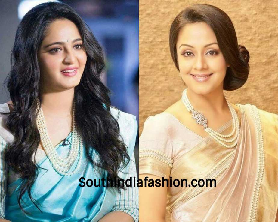 actresses wearing pearl necklace