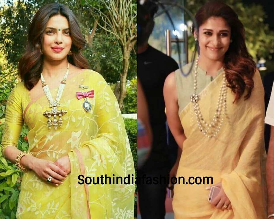 actresses wearing pearl necklace with sarees
