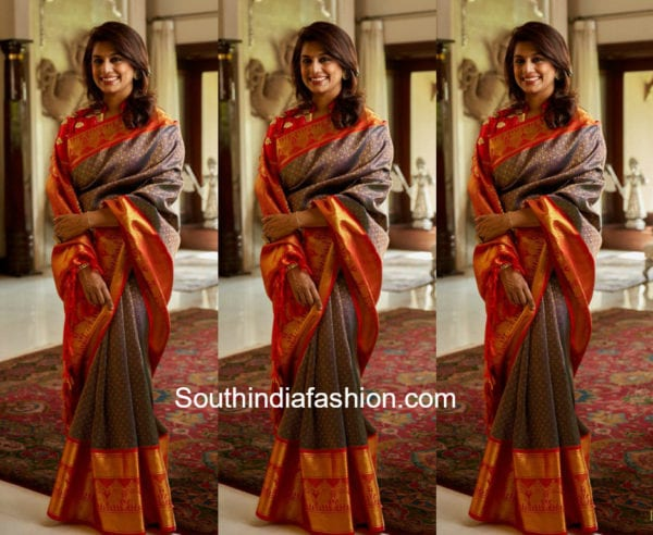 pinky reddy in dasari parvathy kanjeevaram saree