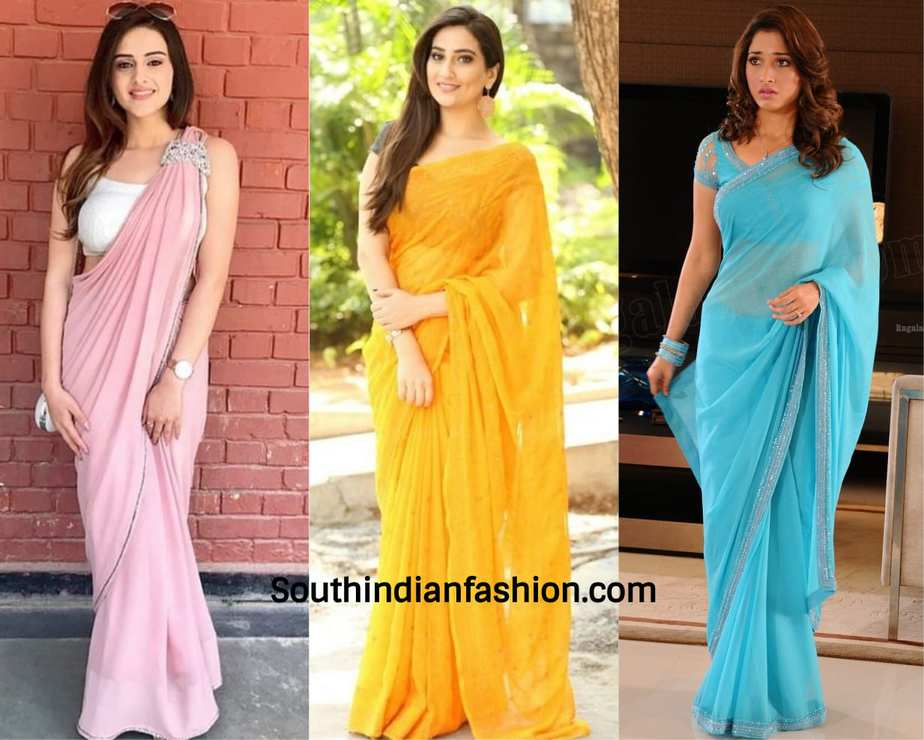 actresses wearing plain chiffon saree