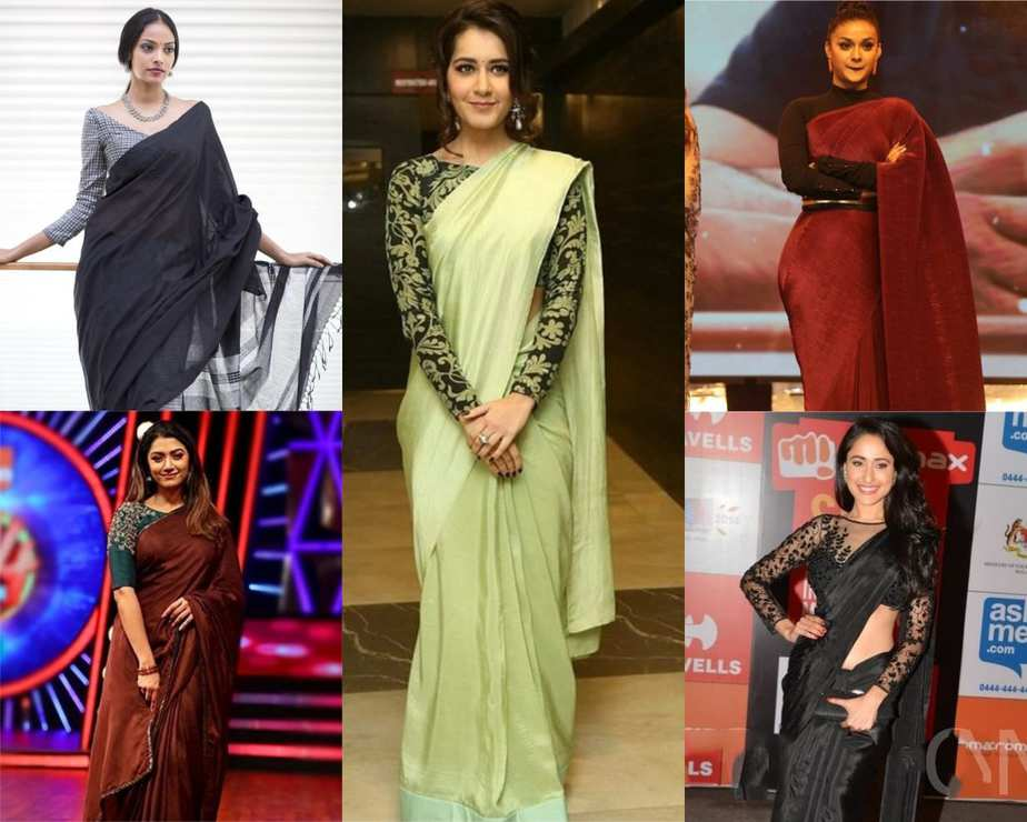 plain saree ideas for party
