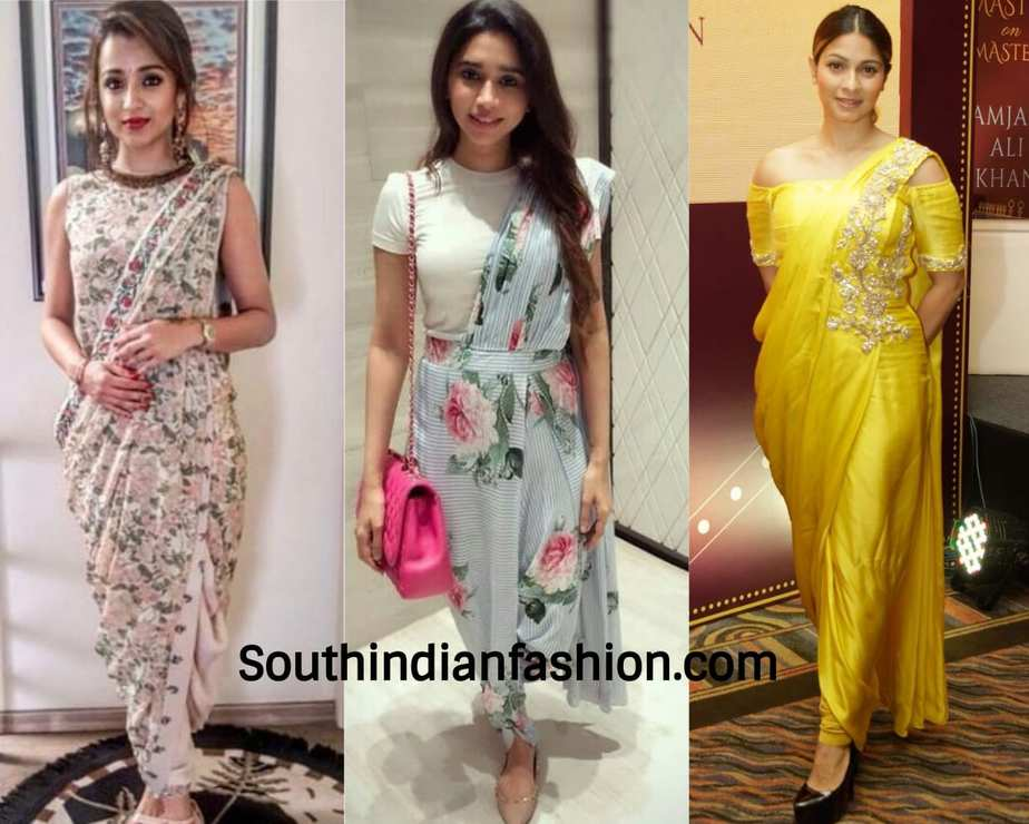 pleated pant saree worn by celebrities