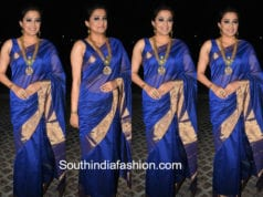 priyamani blue silk saree filmfare awards south 2018