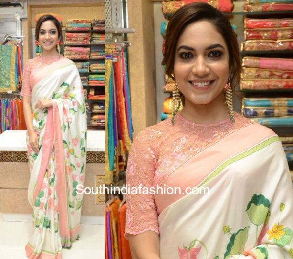 ritu varma floral saree high neck blouse