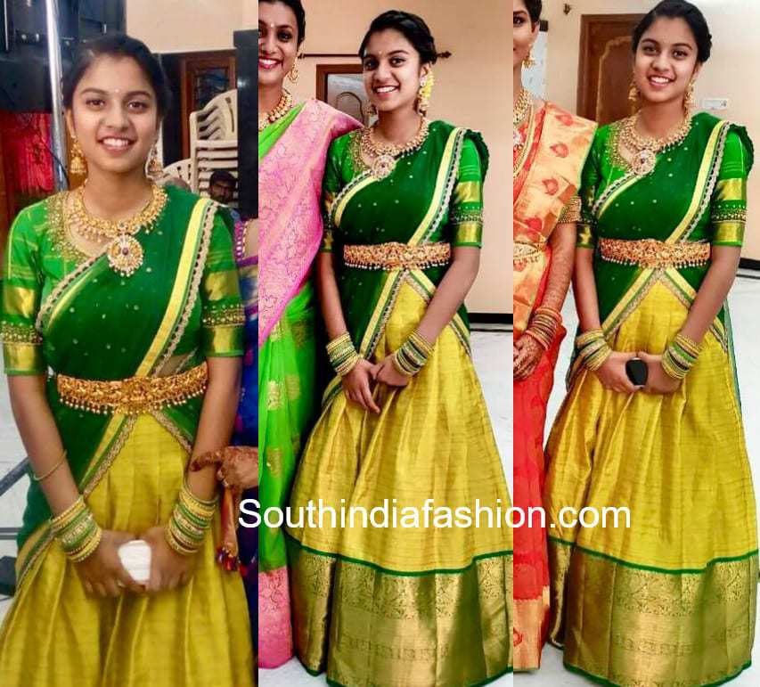 roja daughter green yellow half saree