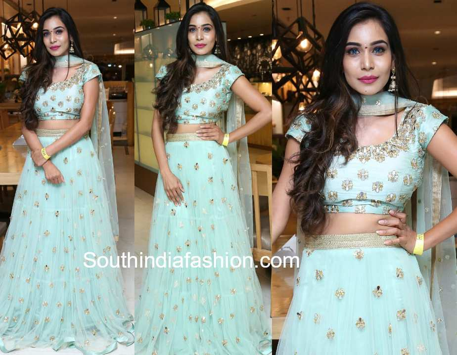 sanjana anne birthday blue lehenga