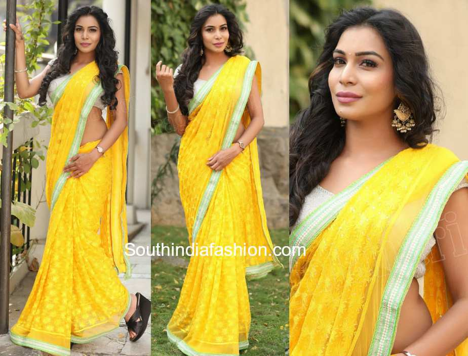 sanjana anne yellow saree