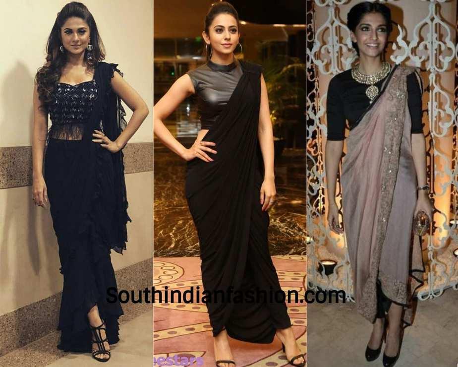 pant saree worn by celebrities