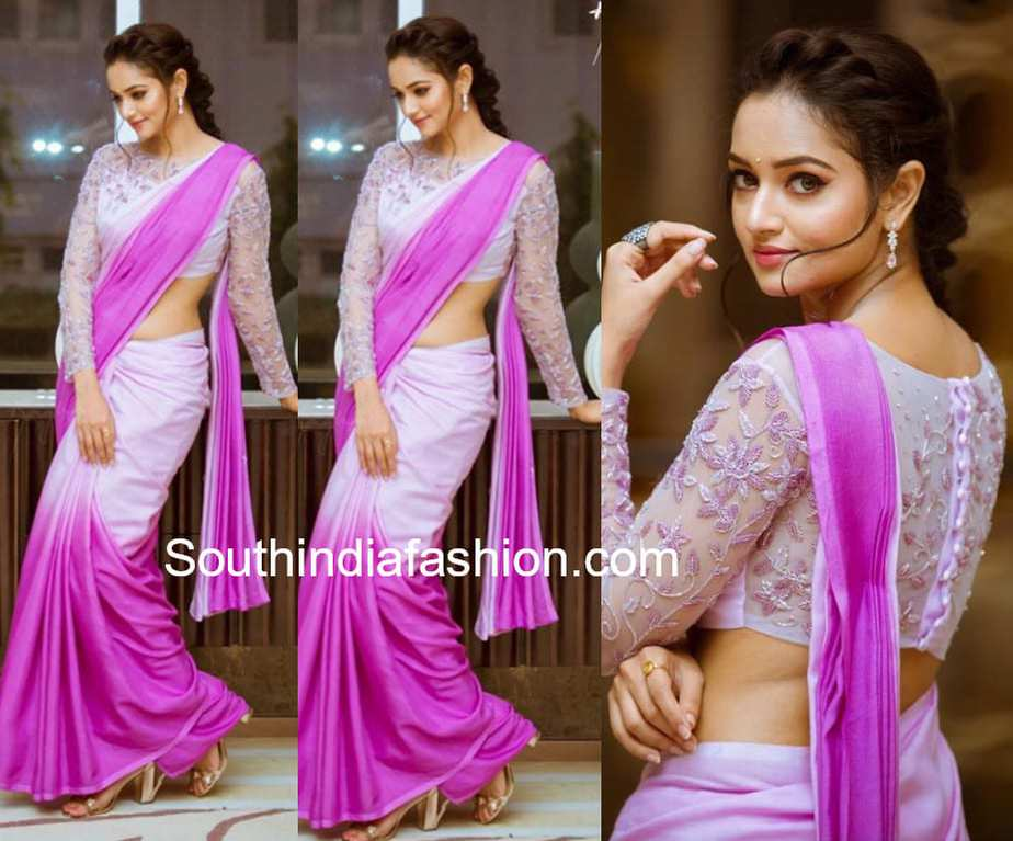 shanvi srivastava ombre saree full sleeves blouse