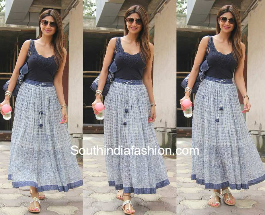 shilpa shetty in maxi skirt and tank top