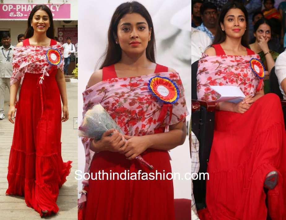 shriya saran red maxi floral dupatta basavatharakam anniversary