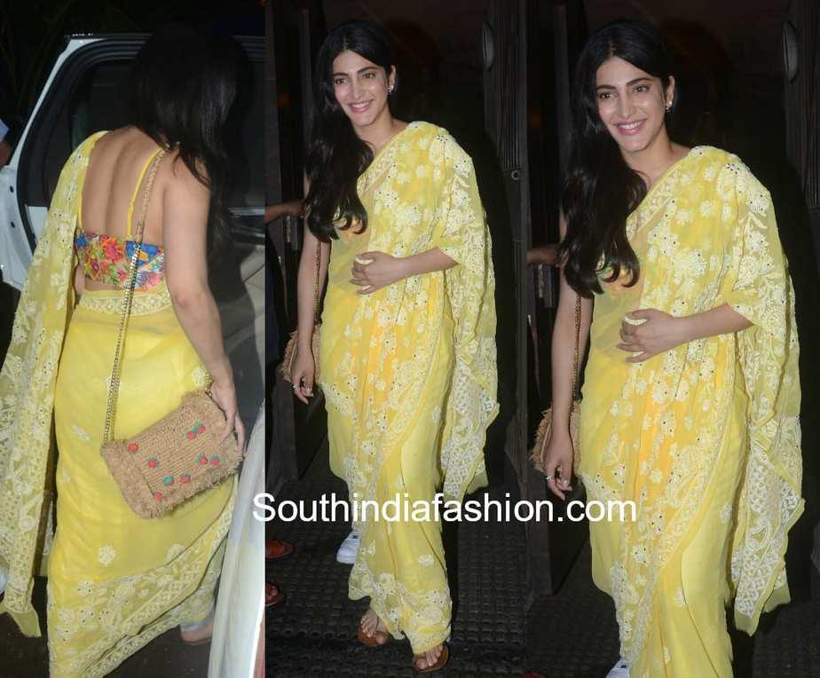 shruti haasan yellow chikankari saree