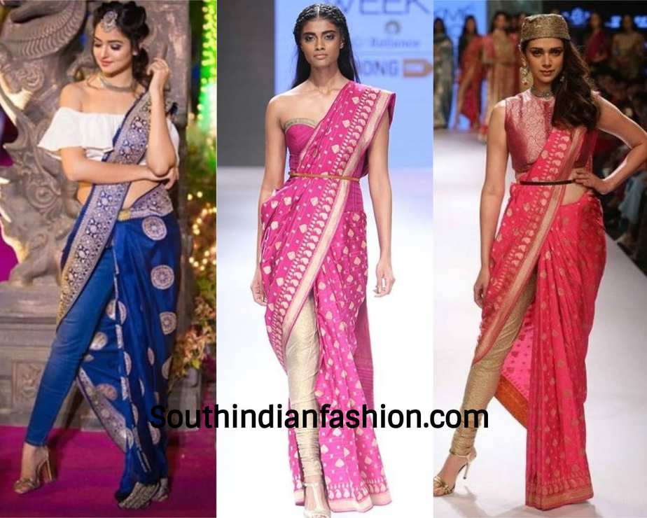 modern silk saree pant looks of celebrities