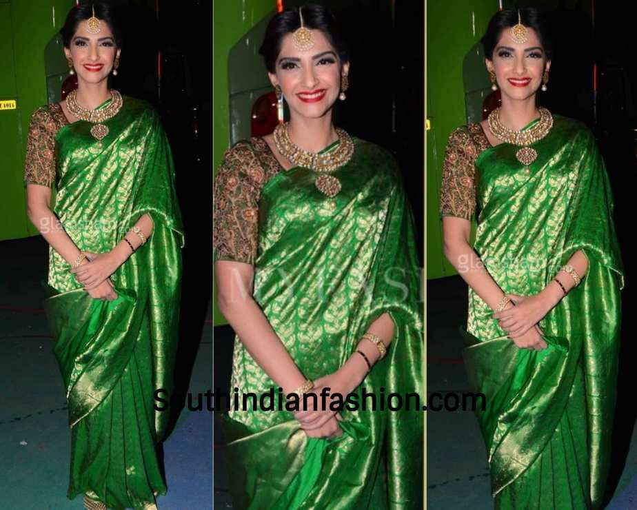 sonam kapoor in green banarasi saree