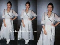 Sonakshi Sinha at Happy Phirr Bhaag Jayegi Promotions white salwar kameez