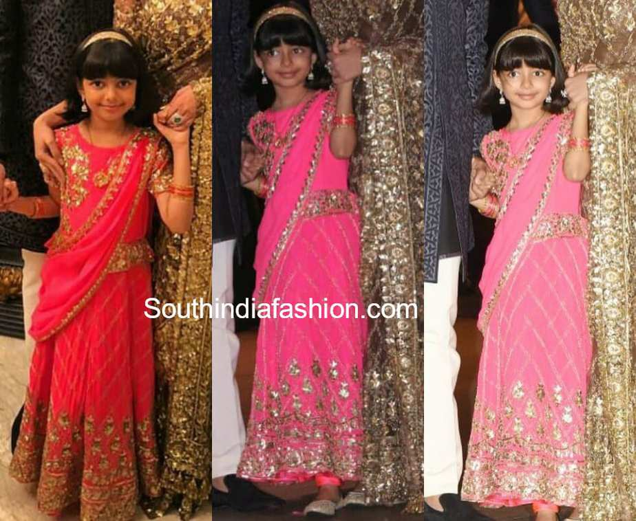 aaradhya bachchan pink lehenga at akash ambani engagement