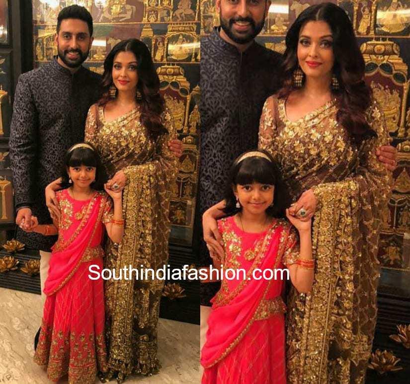 aishwarya rai in gold saree at akash ambani engagement