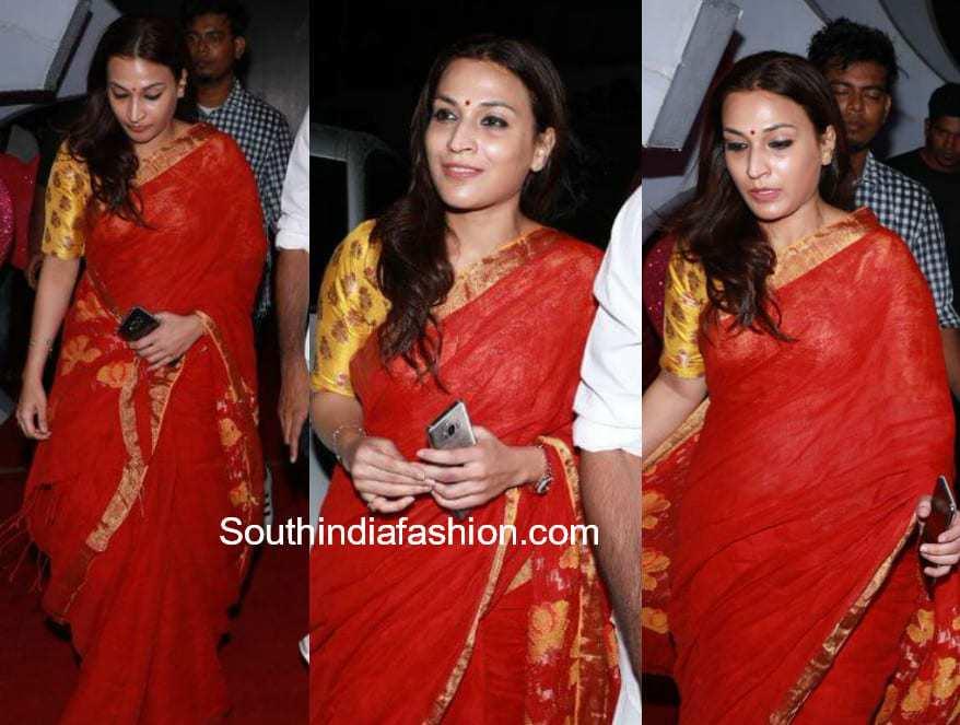 aishwarya dhanush red saree at pyaar prema kaadhal audio launch