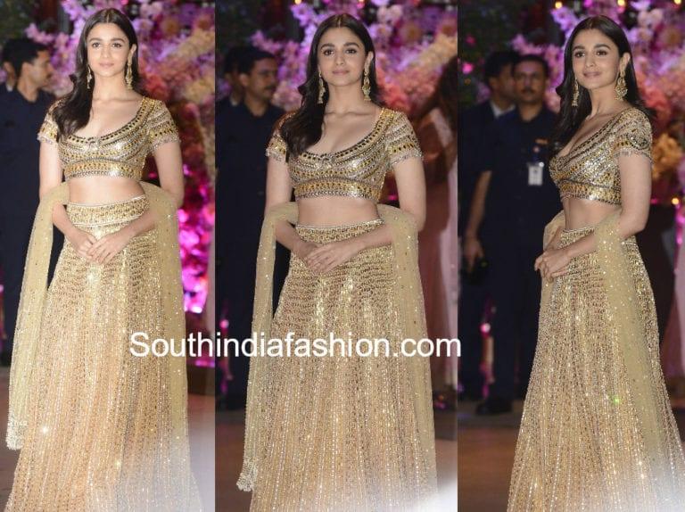 Alia Bhatt opted for a beautiful golden lehenga by Abu