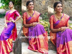 anisha ambrose purple silk saree